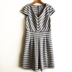 Shelby & Palmer striped fit and flare dress